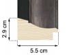 Moldura Preta e Prata escura de 5.5 cm-H55-1