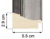 Moldura Prata de 2 tons de 5.5 cm-H58-1