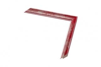 Moldura vermelha riscada com friso prata